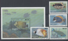 POISSON Maldives 4 val et 1 bloc de 1989 ** /1 FISH FISCH PESCE