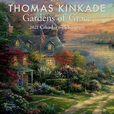 "Thomas Kinkade ~ Gardens of Grace 2021 Mini Wall Calendar with Scriptures 7"" x7"""