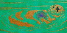 Sea Otter Linocut Original Signed Block Print Art Edition Monterey Bay Aquarium