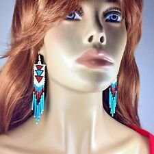 NEW CREAM TURQUOISE RED SEED BEADED FASHION HOOK EARRINGS 4.5 INCHES LONG E58/16