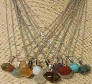 Tiny Hexagonal Gemstone Pendant Healing Quartz Crystal St Steel Chain Necklace