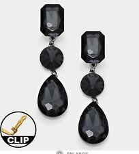 "3"" Long Gray Grey Black Dangle Glass Crystal Pageant Rhinestone Earrings Clip On"