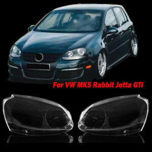 For VW MK5 Rabbit Jetta 06-09 R32 Front Headlight Lens Headlamp Clear Cover