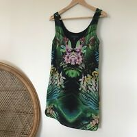Forever New Sleeveless Dress Size 6 Floral Flower Palm Print Leaf Summer Fitted