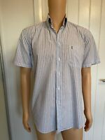 Yves Saint Laurent Casual Mens Shirt Medium M Blue White Stripe Short Sleeve 23""