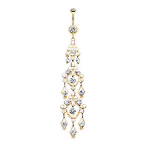 Golden & Silver Majestic Chandelier Belly Button Ring