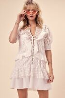 NWT For Love And Lemons Charlotte Sheer Eyelet Lace White Mini Dress, M, $275
