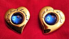 Boucles d'oreilles clips coeurs bleus YVES SAINT LAURENT vintage Earrings luxe