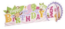 Centerpiece 1st Birthday Party Girls Safari Pink Table Decoration Monkey Giraffe