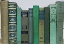 Lot 10 gorgeous GREEN VINTAGE BOOKS rare old antique decorative ~ Ships FREE!