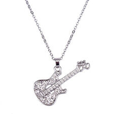 "Guitar Charm Pendant Fashionable Necklace - Sparkling Crystal - 16"" Chain"