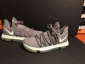 Nike Zoom KD 10 X Basketball Shoes Cool Grey Igloo White 897815-002 Men Sz 9.5