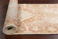 Antique Look Oushak Turkish Hand-Knotted Runner Rug Vegetable Dye Carpet 2'x6'