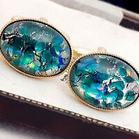 Vintage CZECH Blue Green Glass Fire Opal - Oval Gold Plated Cufflinks