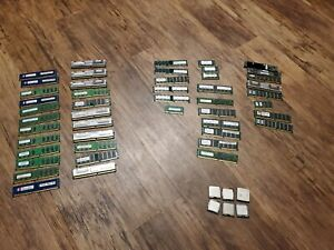 Mixed Lot of 2gb, 1gb, 512mb, 256mb  Laptop Ram (47ct) 42gb total + processors