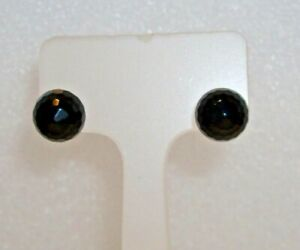 925 STERLING SILVER & NATURAL FACETED BLACK ONYX STUD EARRINGS