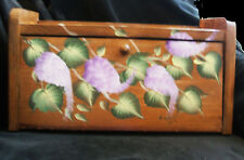Vintage Hand Painted Bread Storage Box Grapes And Grape Leaves Signed Robin