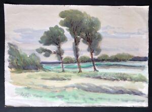 Emil Maetzel Landschaft Aquarell und Pastell 1942 handsigniert und datiert