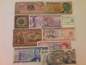 Mexico: 10 Bank Notes From El Banco de Mexico.