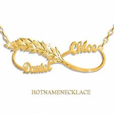 Personalized Infinity Name Necklace IN 14K solid gold. Feather-Love Infinity