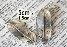 10 x Antique silver leaf charms pendants 5cm leaves  metal bead jewelry