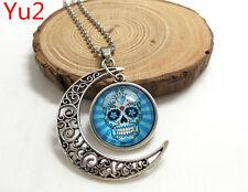 NEW Handmade light blue sugar skull Hollow Moon Pendant Silver Necklace#Yu2