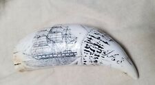Scrimshaw Resin Faux Ship The Comet 1831 Whaler Image Replica Whale Tooth LOOK!