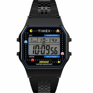 Timex x Pac-Man Unisex T80 34mm Stainless Steel Bracelet Watch Black Timepiec...