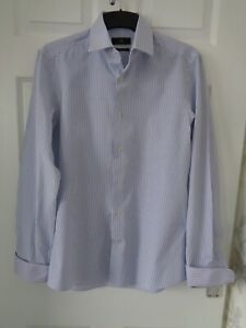 "NEXT MENS CUFFLINK SHIRT SIZE 15"" COLLAR WHITE / BLUE STRIPE"