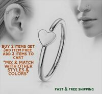 Surgical Stainless Steel Silver Heart Nose Ring Hoop