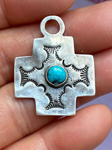 Vintage Tested Silver turquoise Navajo Style  Pendant