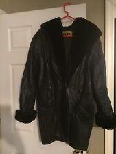 Womens Long Leather Jacket Coat, Size M Medium