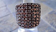 STERLING SILVER BAND CLUSTER RING 7 ROWS NATURAL ROUND PAVE CHAMPAGNE STONES