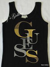 GUESS Jeans studded Glitter Tank T-shirt Tee T shirt  Top Blouse  Black  NWT XS