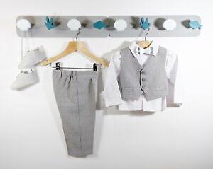 Baby Boys Grey Formal Outfit Suit Smart Set Christening Baptism Wedding 0-24m
