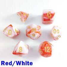 Elemental Poly 7 Dados Rpg conjunto rojo blanco dos tonos D&D Pathfinder 5e DND Juego de Rol