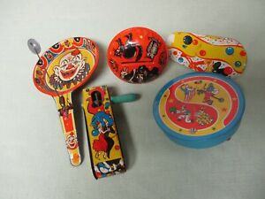 Lot of 5 U.S. Metal Toy Mfg. Noise Makers