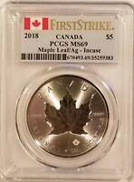 2018 Canada Incuse Maple Leaf $5 1oz .9999 Fine Silver PCGS MS69 - First Strike