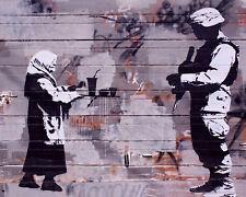 Banksy Street Art fast food Iraqi woman soldier premium 16 x 20 Canvas Print