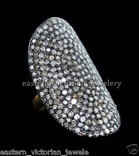 Vintage Antique 3.78Cts Pave Rose cut Diamond .925 Sterling Silver Ring Jewelry