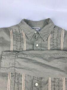 Lucky Brand Mens LARGE  Olive Green Striped LINEN Long Sleeve Button Dress Shirt