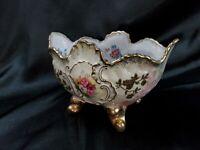 Antique Japan Porcelain Scenic Open Top Soup serving Bowl w/ 4 feet gold details