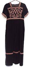 Vintage BLACK VELVET Ethnic Union Made Heavy Hippie Long Maxi Dress