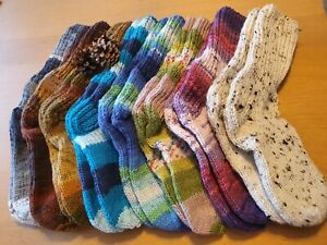 Multicoloured warm hand knitted wool socks (sizes 4-14 ❤)