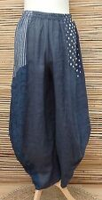 LAGENLOOK LINEN OVERSIZED QUIRKY BALLOON HAREM TROUSERS/PANTS***NAVY***L-XL-XXL