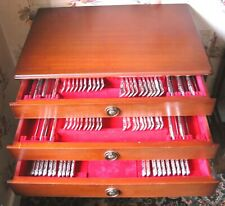 More details for reduced: 90 piece sterling silver canteen sheff. cutlery. kings des. in cabinet