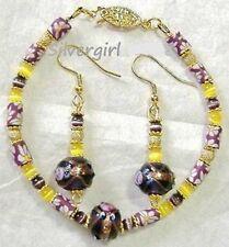 Yellow Purple Flower Lampwork Cat Eye Bracelet Earring Set
