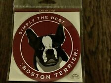 Car Magnet 4� Round by Simply the Best Papers Russell's: Boston Terrier