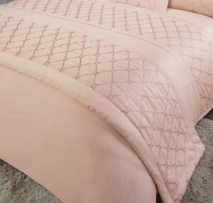 Embroidered Soft Sequin Bed Runner Luxury Bed Throw 60 x 240cm Monaco Blush Gold