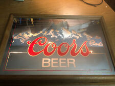 Vintage 1984 Coors Beer Lighted Mirrored Mountain Sign. Excellent Shape! Rare!